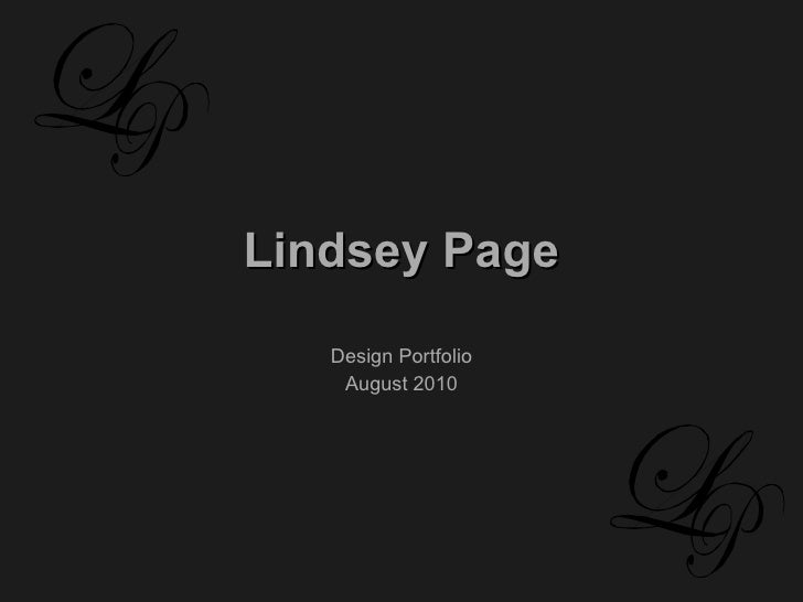 Lindsey Page Design Portfolio August 2010
