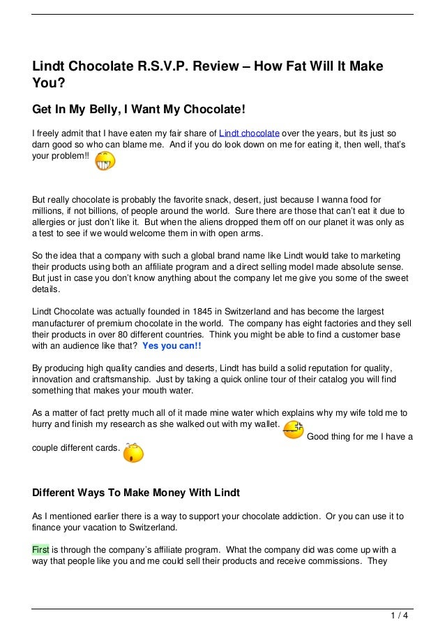 Lindt Chocolate R.S.V.P. Review – How Fat Will It MakeYou?Get In My Belly, I Want My Chocolate!I freely admit that I have ...