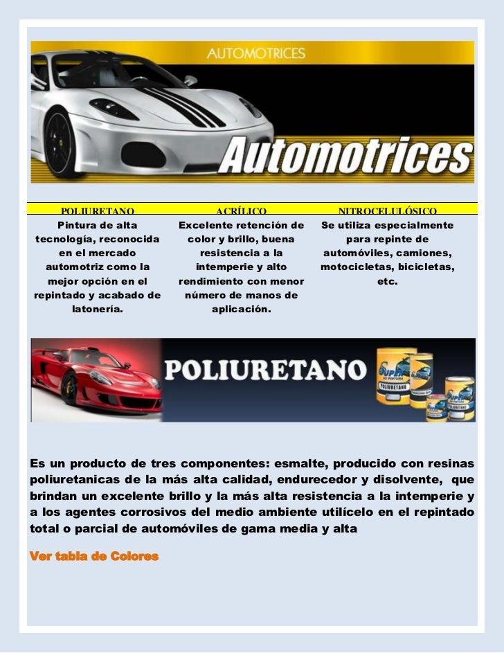 POLIURETANOACRÍLICONITROCELULÓSICOPintura de alta tecnología, reconocida en el mercado automotriz como la mejor op...