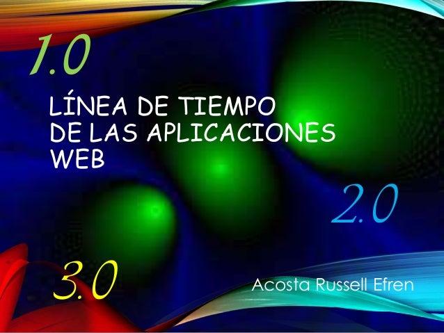LÍNEA DE TIEMPO DE LAS APLICACIONES WEB 1.0 2.0 3.0 Acosta Russell Efren