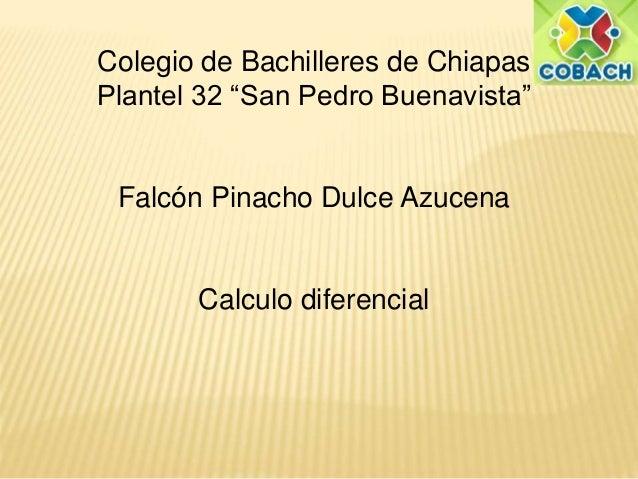 """Colegio de Bachilleres de Chiapas  Plantel 32 """"San Pedro Buenavista""""  Falcón Pinacho Dulce Azucena  Calculo diferencial"""