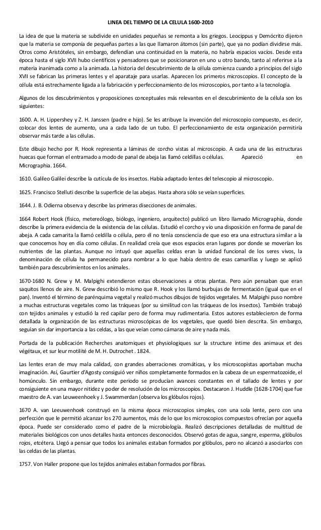 LINEA DEL TIEMPO DE LA CELULA 1600-2010La idea de que la materia se subdivide en unidades pequeñas se remonta a los griego...