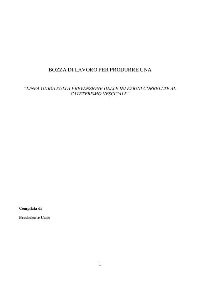 """1BOZZA DI LAVORO PER PRODURRE UNA""""LINEA GUIDA SULLA PREVENZIONE DELLE INFEZIONI CORRELATE ALCATETERISMO VESCICALE""""Compilat..."""