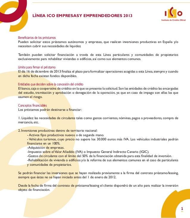 Linea ICO para Empresas y Emprendedores 2013