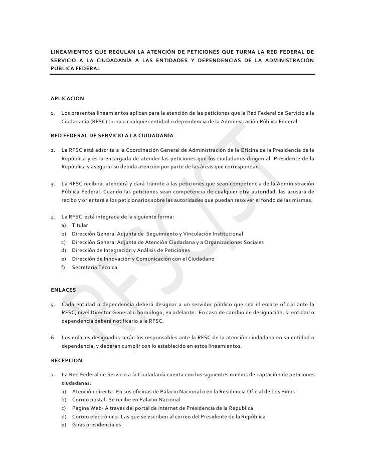 LINEAMIENTOS QUE REGULAN LA ATENCIÓN DE PETICIONES QUE TURNA LA RED FEDERAL DESERVICIO A LA CIUDADANÍA A...