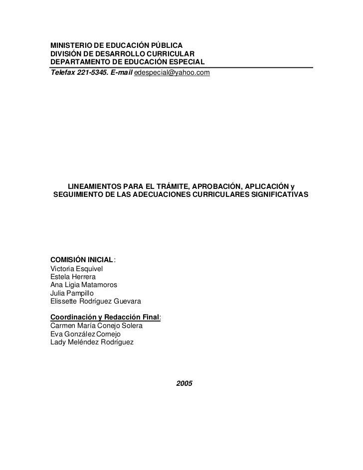 Lineamientos para el y trámite, aprobación, aplicación y seguimiento de las adecuaciones curriculares significativas