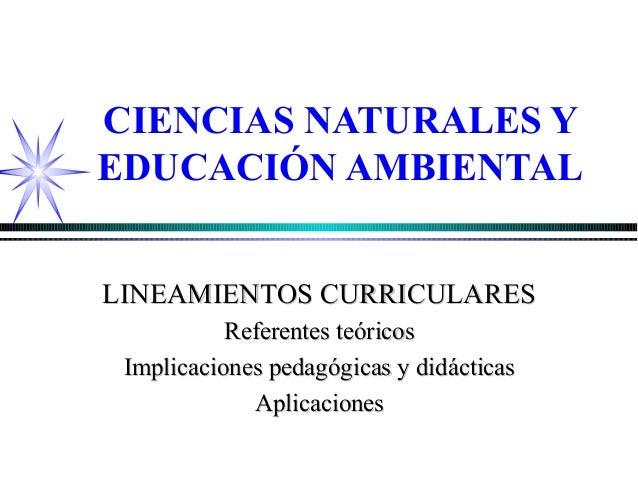 CIENCIAS NATURALES YEDUCACIÓN AMBIENTALLINEAMIENTOS CURRICULARESLINEAMIENTOS CURRICULARESReferentes teóricosReferentes teó...
