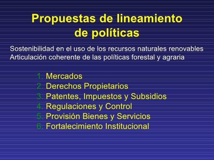 Lineamientos de políticas en base a los siguientes