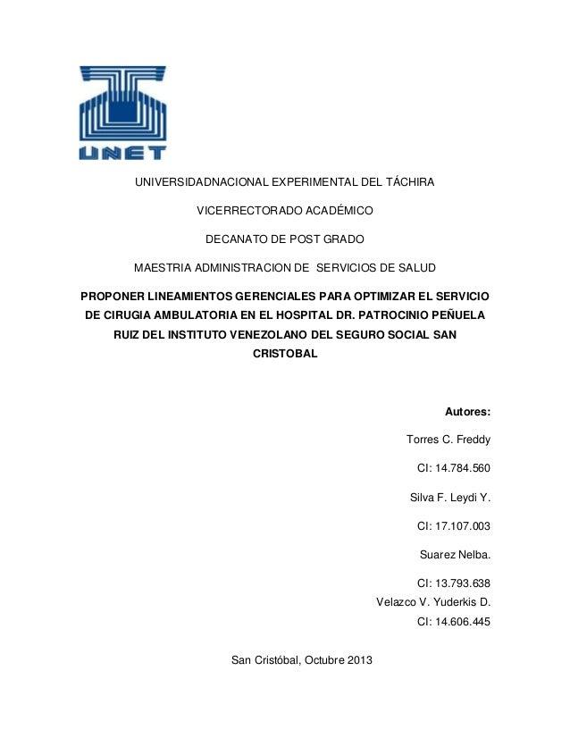 UNIVERSIDADNACIONAL EXPERIMENTAL DEL TÁCHIRA VICERRECTORADO ACADÉMICO DECANATO DE POST GRADO MAESTRIA ADMINISTRACION DE SE...