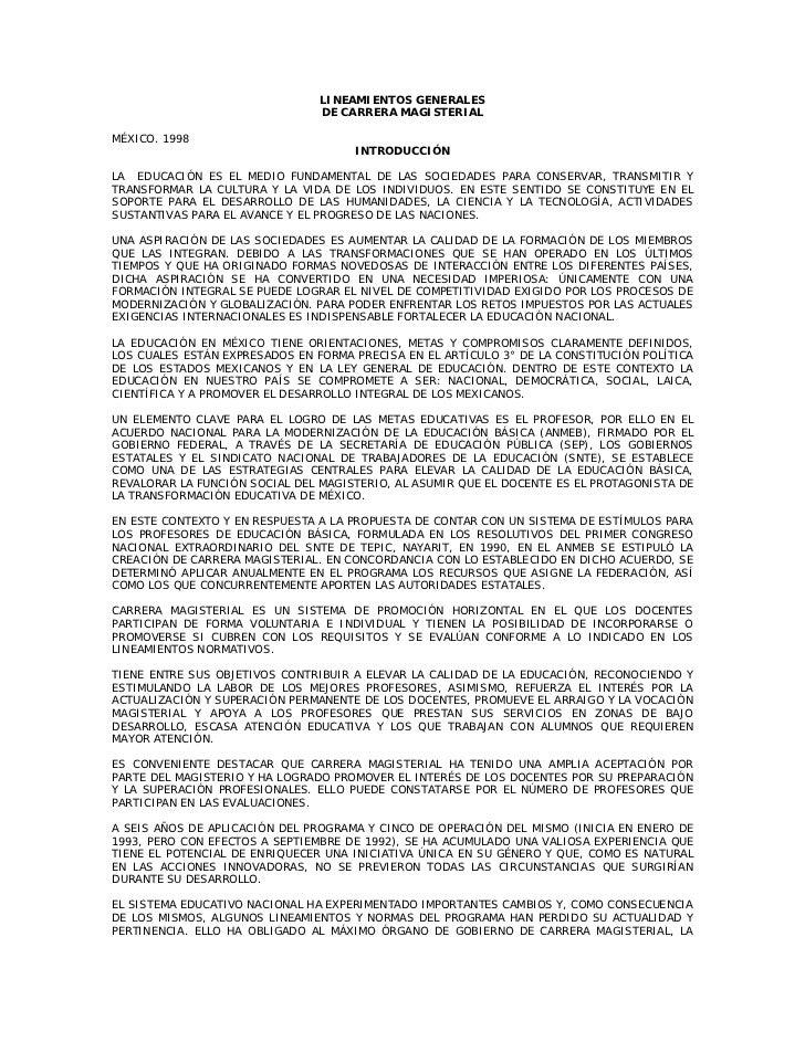 LINEAMIENTOS GENERALES                                DE CARRERA MAGISTERIALMÉXICO. 1998                                  ...
