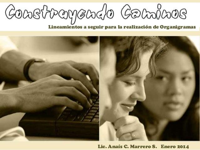 Lineamientos a seguir para la realización de Organigramas  Lic. Anaís C. Marrero S. Enero 2014