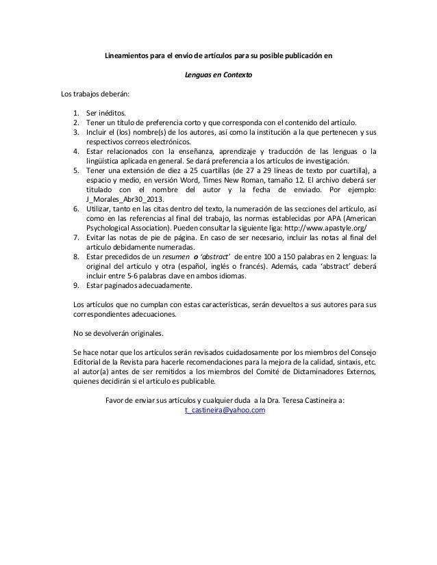 Lineamientos para el envío de artículos para su posible publicación en                                      Lenguas en Con...