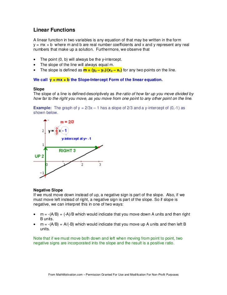 Linear FunctionsA linear function in two variables is any equation of that may be written in the formy = mx + b where m an...