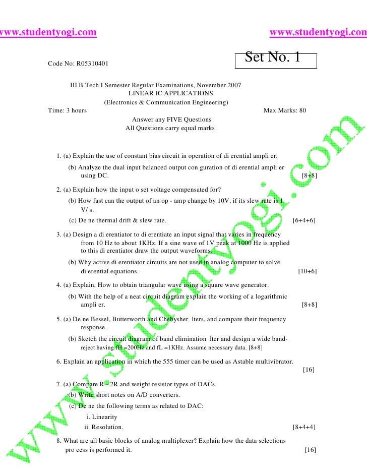 Linear Ic Applications Jntu Model Paper{Www.Studentyogi.Com}