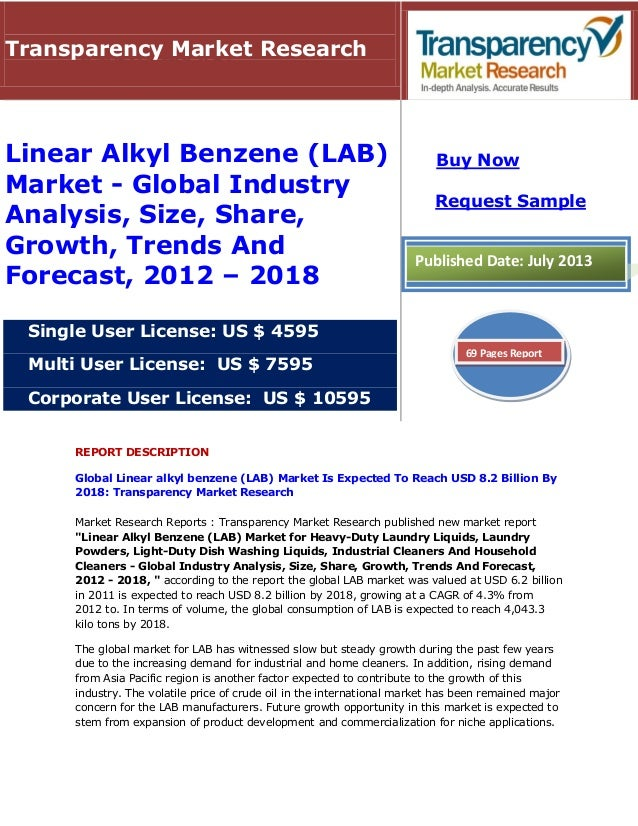REPORT DESCRIPTION Global Linear alkyl benzene (LAB) Market Is Expected To Reach USD 8.2 Billion By 2018: Transparency Mar...