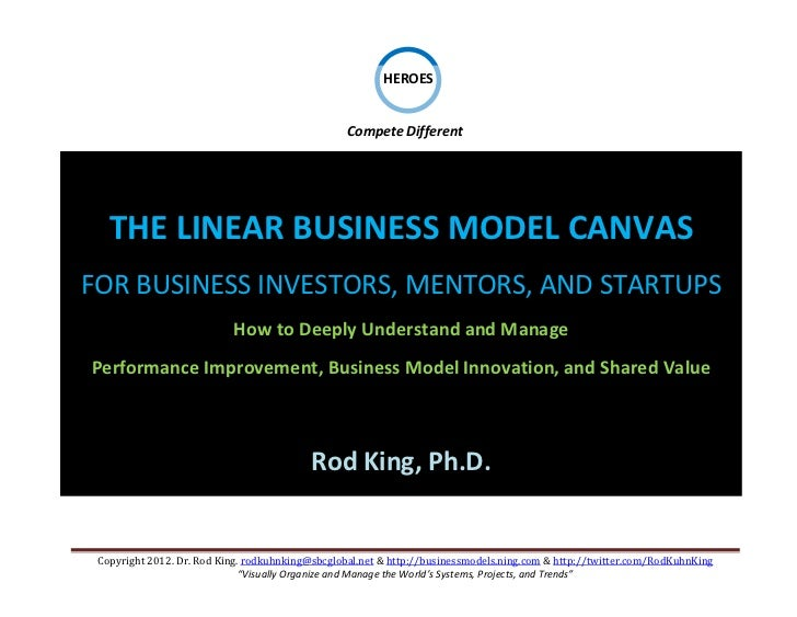 The LINEAR Business Model Canvas for Business Investors, Mentors, and Startups