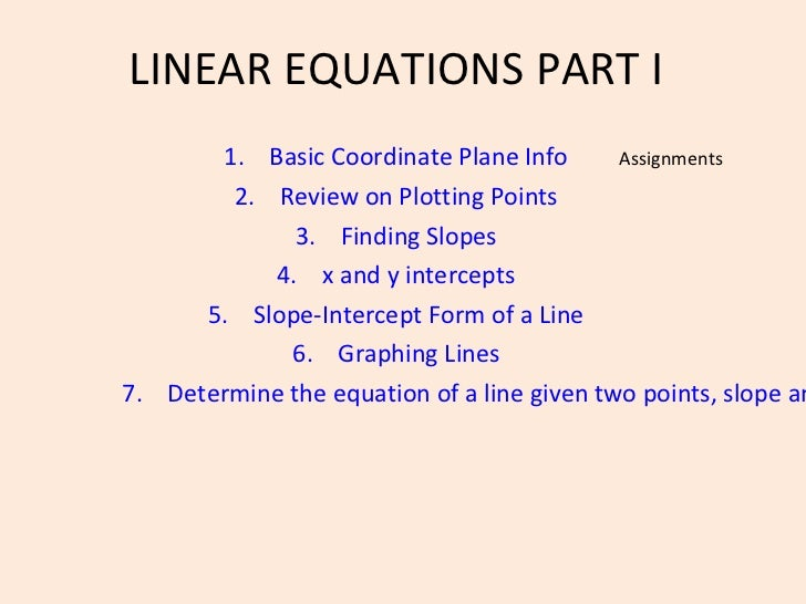 LINEAR EQUATIONS PART I       1. Basic Coordinate Plane Info       Assignments        2. Review on Plotting Points        ...