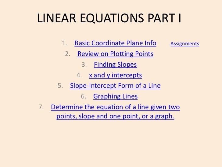 Linear equations part i