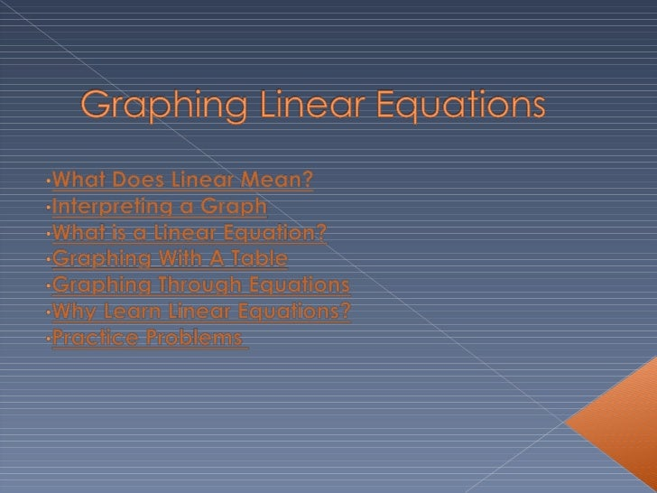 Linear Equations Ppt