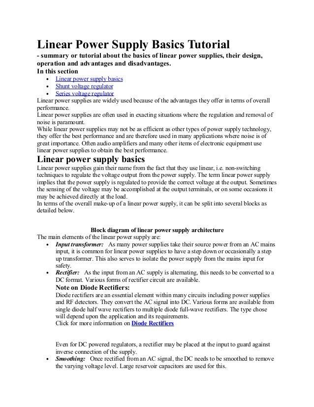 Linear power supply basics tutorial