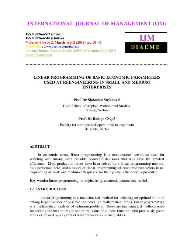 Linear programming of basic economic parameters used at reengineering in small