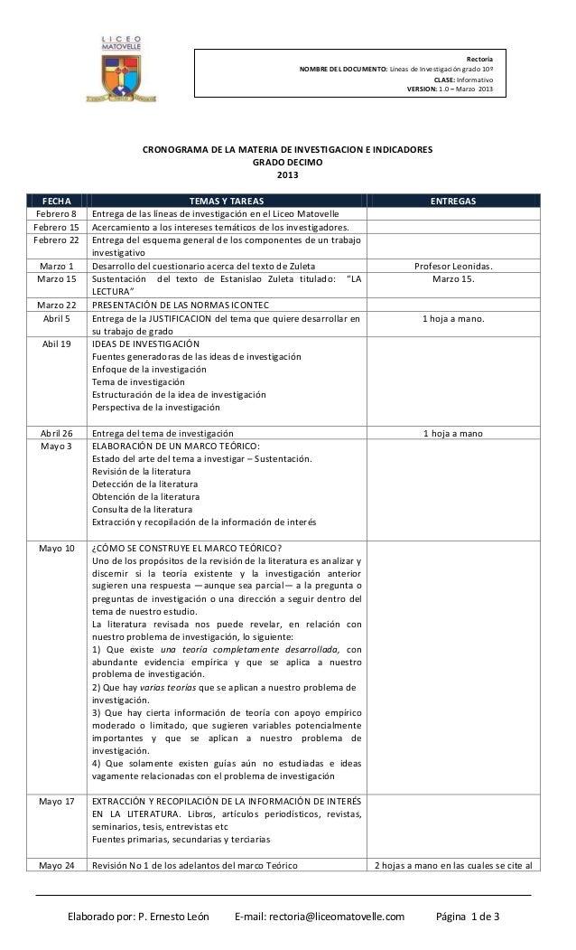 Rectoría                                                                NOMBRE DEL DOCUMENTO: Líneas de Investigación grad...