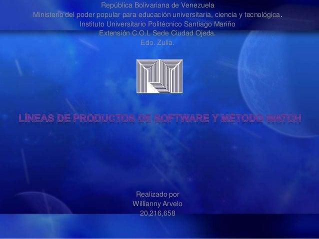 República Bolivariana de Venezuela Ministerio del poder popular para educación universitaria, ciencia y tecnológica. Insti...