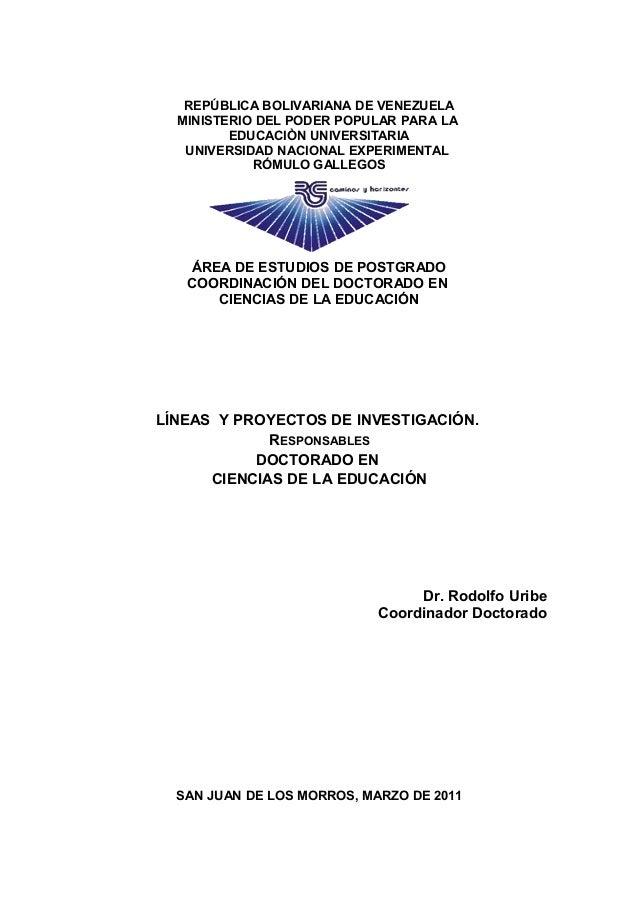 Lineas y proyectos investigacion 2011 Doctorado UNERG