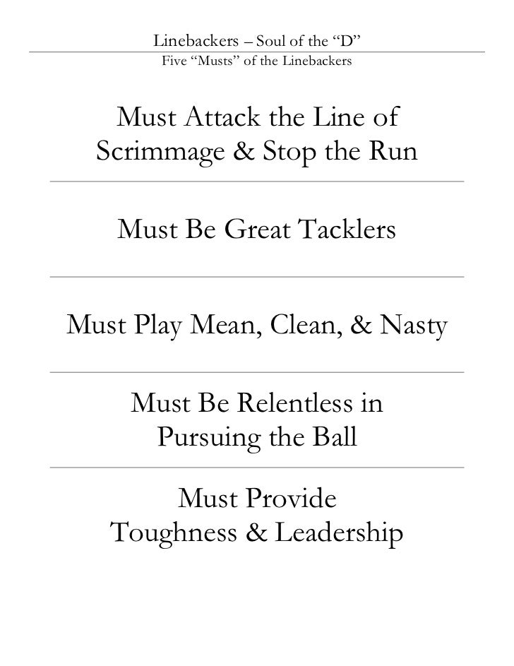 """Linebackers – Soul of the """"D""""       Five """"Musts"""" of the Linebackers   Must Attack the Line of  Scrimmage & Stop the Run   ..."""