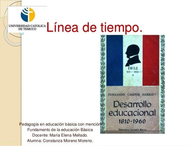 Línea de tiempo. Pedagogía en educación básica con mención Fundamento de la educación Básica Docente: María Elena Mellado....