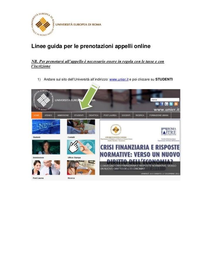 Linee guida prenotazione appelli online università europea di roma
