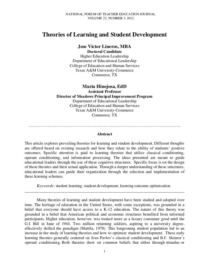 NATIONAL FORUM OF TEACHER EDUCATION JOURNAL                                        VOLUME 22, NUMBER 3, 2012           The...