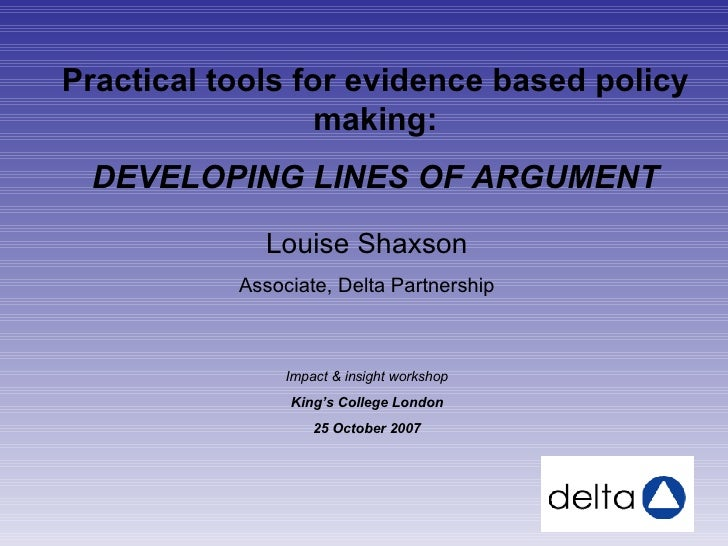 Lines Of Argument Presentation at Insights to Impact Meeting