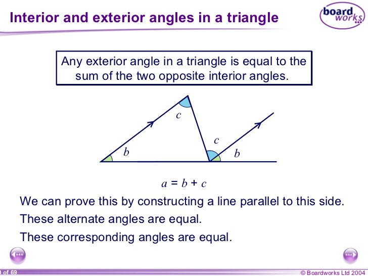 Lines and angles - The exterior angle of a triangle is equal to ...