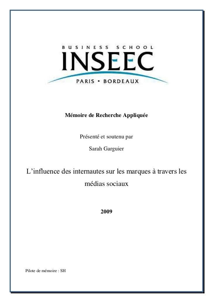 Mémoire de Recherche Appliquée                          Présenté et soutenu par                             Sarah Garguier...