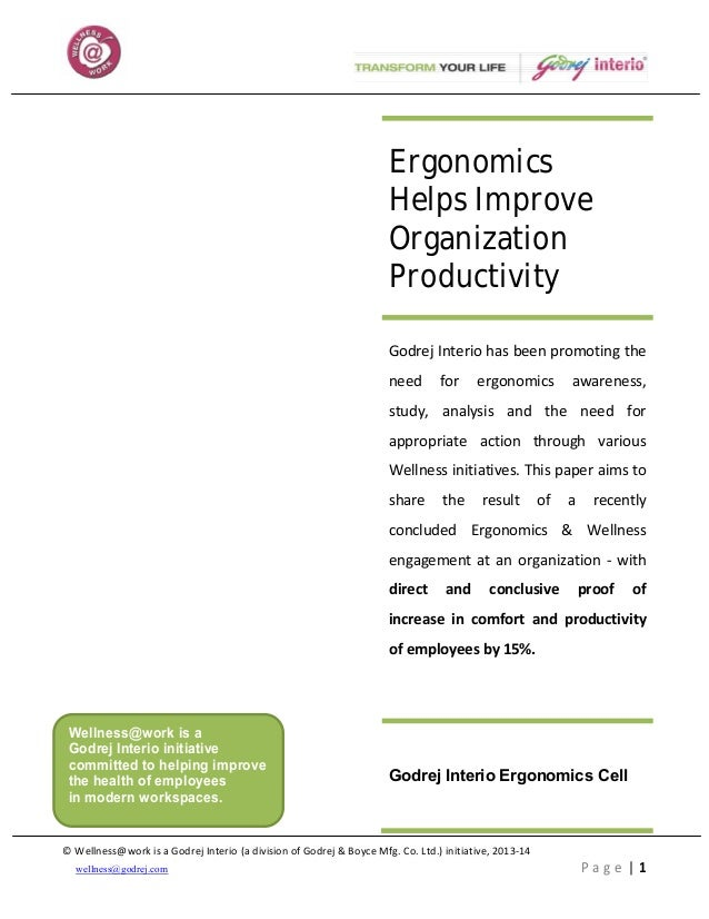 Need for Ergonomics Awareness