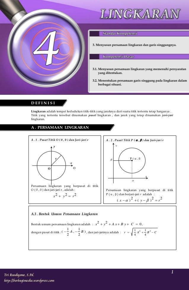Ringkasan Materi dan Soal-soal Matematika SMA Kelas XI IPA Semester 1                 DEFINISI                 Lingkaran a...