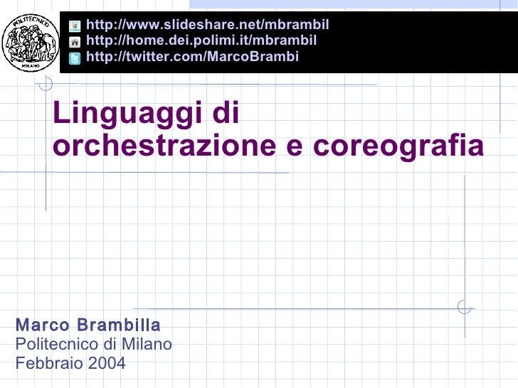[ITA] Linguaggi di orchestrazione e coreografia