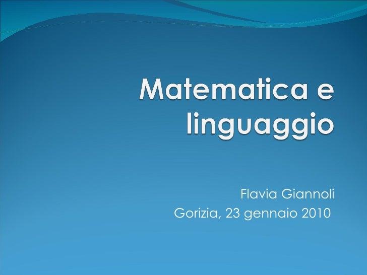 Didattica della matematica 2.2- Linguaggio Della Matematica