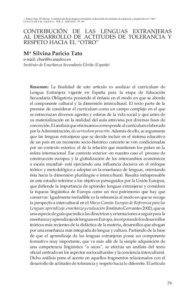 Paricio Tato, Mª Silvina - Contribución de las lenguas extranjeras al desarrollo de actitudes de tolerancia y respeto haci...