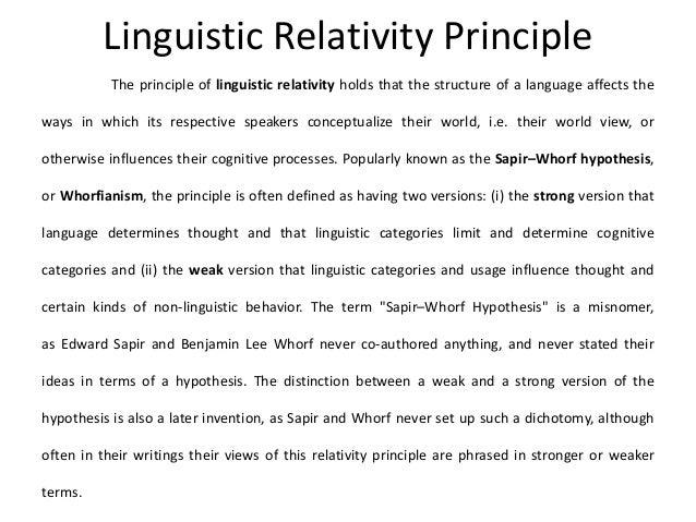 linguistics relativity hypothesis Definitions of linguistic_relativity, synonyms, antonyms, derivatives of linguistic_relativity, analogical dictionary of linguistic_relativity (english.