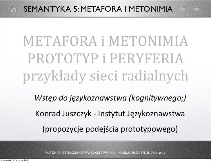 SEMANTYKA 5: METAFORA I METONIMIA                 METAFORA i METONIMIA                  PROTOTYP i PERYFERIA      ...
