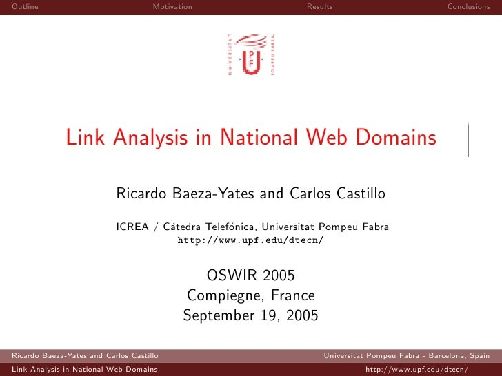 Link Analysis in National Web Domains (OSWIR 2005 Compiegne)