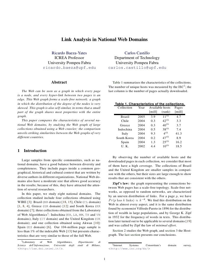 Link Analysis in National Web Domains