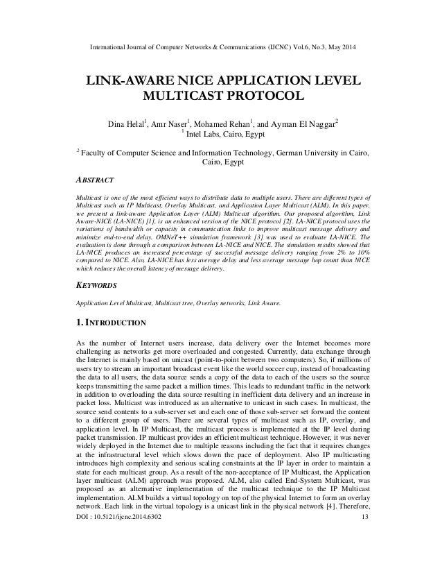 International Journal of Computer Networks & Communications (IJCNC) Vol.6, No.3, May 2014 DOI : 10.5121/ijcnc.2014.6302 13...