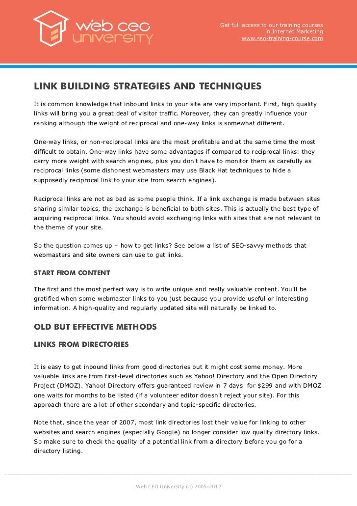 Internet marketing training: Link building strategies and techniques