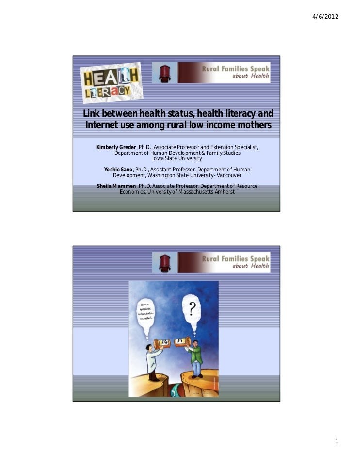 Link between health status, health literacy and internet use among rural low income mothers