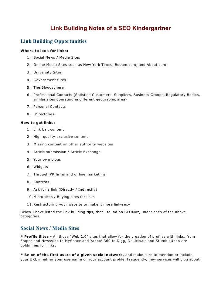 Link Building Notes Of Seo Kindergar
