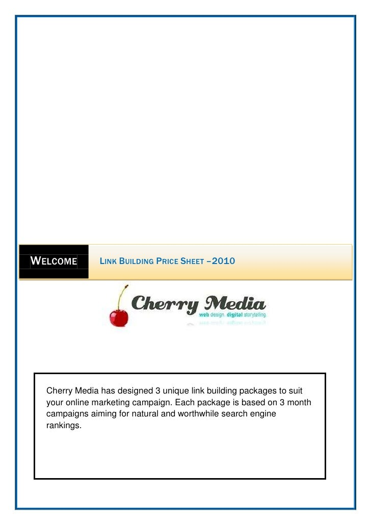 Cherry Media has designed 3 unique link building packages to suit your online marketing campaign. Each package is based on...