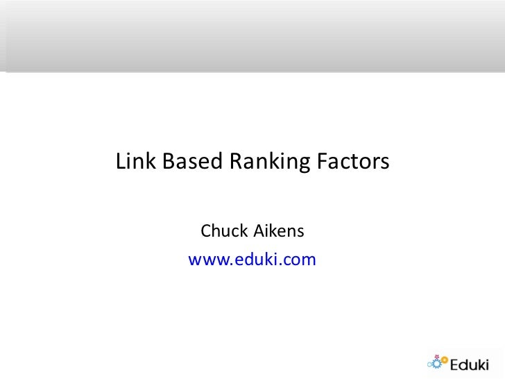 Link Specific Ranking Factors for SEO